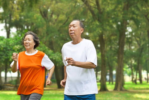 Elderly couple exercising after Cataract Surgery