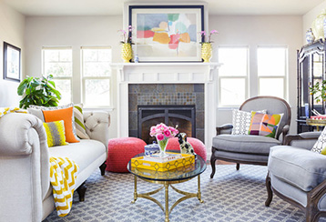 Bright living room with light shining brightly.
