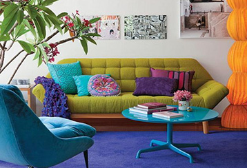 Bright living room with different contrasting colors.