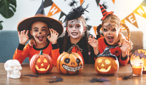 Young kids dressed up for Halloween